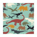 Dinosaur Vintage Color Seamless Pattern Monochrome Style