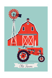 Beautiful Detailed Vector Poster or Web Banner Template on Old Farm with Classic Red Wooden Barn  W