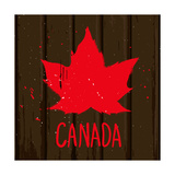 Red Maple Leaf on Brown Wood Wall  Vector Grunge Style Illustration Background
