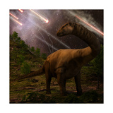 An Apatosaurus Looks upon Meteors Raining down that Would Precede the Larger Asteroid Strike that W
