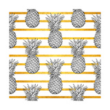 Pineapple Tropical Vector Seamless Pattern and Gold Stripes Textile Print Fashion Seamless Illustr