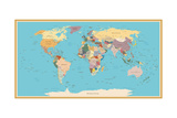 Highly Detailed World Map with Vintage Color