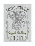 Knuckle Twin Head Motorcycle Engine Biker Poster  T-Shirt Design with Stylish Vintage Elements on