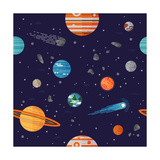 Cool Galaxy Planets and Stars Space Vector Flat Seamless Pattern with Earth  Moon  Venus  Mars  Jup