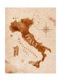 Map of Italy in Old Style in Vector Format  Brown Graphics in a Retro Style