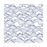 Landscape Pattern Vector Seamless Pattern with Hills  Trees  Fields and Peaks Background Illustra