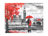 Oil Painting on Canvas  Street View of London  River and Bus on Bridge Artwork Big Ben Man and W
