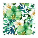 Tropical Watercolor Floral Seamless Pattern with Orchid Flowers Jungle Palm Leaves Background