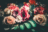 Close up Colorful Bunch of Beautiful FlowersVintage or Retro Tone