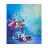 Oil Painting Flowers in Vase Hand Paint Still Life Bouquet of White Yellow and Orange Sunflower  G