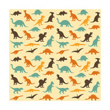 Vector Set Silhouettes of Dinosaur Animal Illustration  Retro Pattern Background