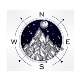 Hand Drawn Mountain Wind Rose Compass Tribal Template in Boho Style Isolated Vector Illustration