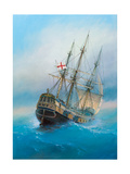 Painting Oil on Canvas Shows a 19 Th Century Sailing Ship the Painting Was Created in 2008