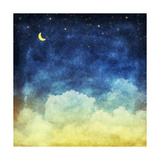 Cloud and Sky at Night  Yellow and Blue Background