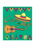 Poster for Fiesta Time with Colorful Hand Drawn Attributes of Mexican Holiday Cinco De Mayo Banner