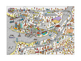 Winter Doodle Town Map Drawn by Hand Vector Isolated