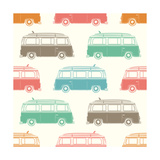 Retro  Vintage  Travel  Camper Van  with Surfing Board  Seamless Pattern Vector Illustration