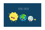 Cute Cartoon Planet Earth  Sun  Moon and Star Earth Day Background