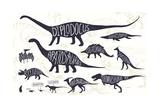 Set of Silhouettes of Dinosaurs and Fossils Hand Drawn Vector Illustration with Decorative Letteri