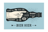 Bottle of Beer with Hand Drawn Lettering and Text Bier Hier for Oktoberfest Beer Festival Vintage