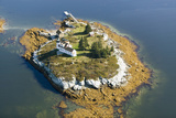 Aerial View of an Island and Lighthouse near Acadia National Park  Maine