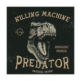 Vintage Label with Dinosaur with Text-Predator Angry HeadTypography Design for T-ShirtsVector Il