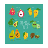 Funny Tropical Fruits Guava  Papaya  Mango  Kiwi  Dragon Fruit  Avocado Vector Illustration Comi