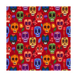 Seamless Pattern-Mexican Day of the Dead Cute Skulls and Flowers in a Colorful Style