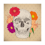 Vintage Card with Skull and Flowers on Beige Background Day of the Death Colorful Vector Illustra