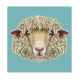 Sheep Portrait Illustrated Portrait of Ram or Sheep on Blue Background