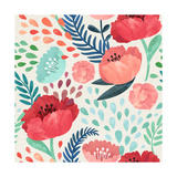 Seamless Hand Illustrated Floral Pattern on Paper Texture Watercolor Botanical Background