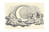 Night Sky Vector  Moon in the Clouds Hand Drawing
