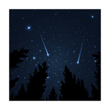 Galaxy with Framed with Pine Trees Night Sky and Shooting Stars Milky Way Vector Illustration
