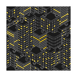 Abstract Black Seamless Pattern Isometric Building at Night Linear Style the Outlines of Skyscra