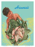 Hawaii - Hawaiian Boy with Fish in Ti Leaves