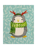 Cute Penguin in Scarf Watercolor Illustration Perfect for Greeting Cards
