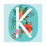 Vector Hand Drawn Floral Monogram with Vintage Amazing Flowers! Letters K Perfect for Backgrounds O