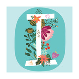 Vector Hand Drawn Floral Monogram with Vintage Amazing Flowers! Letters I Perfect for Backgrounds O