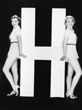 Women Posing with Huge Letter H