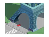 Eiffel Tower and Red Car Isometric