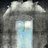 A Surreal Image of an Umbrella Checkered Black and White  Where below it There is Good Weather and
