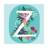 Vector Hand Drawn Floral Monogram with Vintage Amazing Flowers! Letters Z Perfect for Backgrounds O