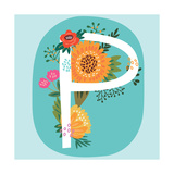 Vector Hand Drawn Floral Monogram with Vintage Amazing Flowers! Letters P Perfect for Backgrounds O