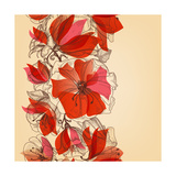 Red Flowers Seamless Pattern in Retro Style Vector Illustration