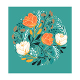 Vector Floral Illustration of Blooming Poppies and Fantasy Plants
