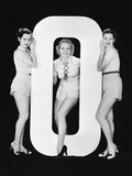 Women Posing with Huge Letter O