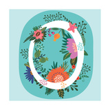 Vector Hand Drawn Floral Monogram with Vintage Amazing Flowers! Letters O Perfect for Backgrounds O