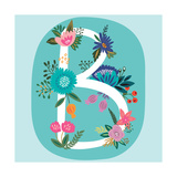 Vector Hand Drawn Floral Monogram with Vintage Amazing Flowers! Letters B Perfect for Backgrounds O
