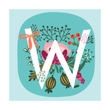 Vector Hand Drawn Floral Monogram with Vintage Amazing Flowers! Letters W Perfect for Backgrounds O