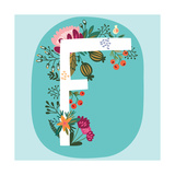 Vector Hand Drawn Floral Monogram with Vintage Amazing Flowers! Letters F Perfect for Backgrounds O